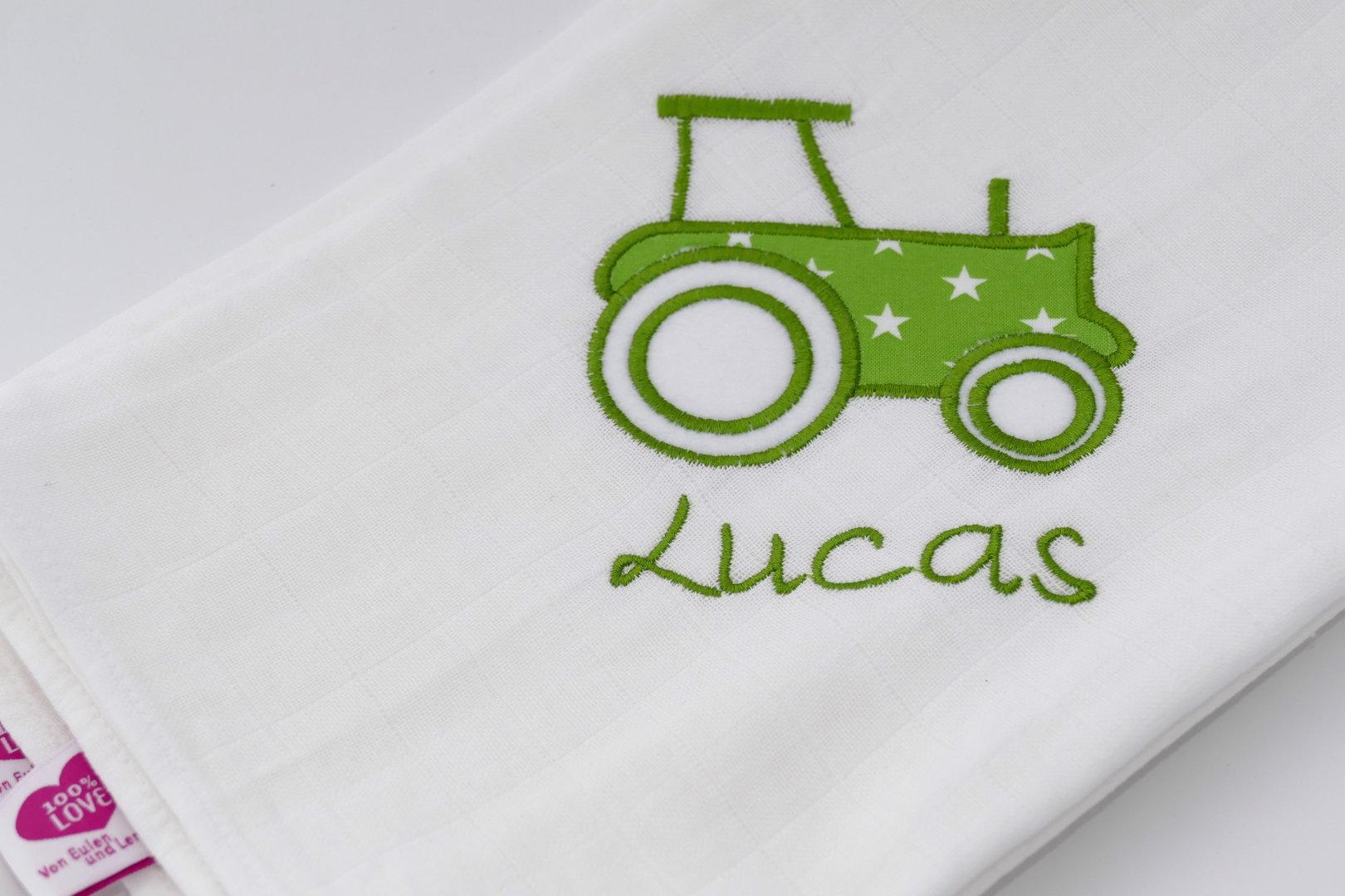 Knistertuch Traktor mit Namen